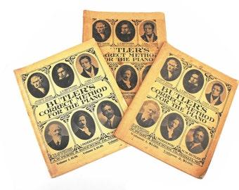 1910s Butler's Correct Method for Piano Sheet Music Set Volumes 1-3 Pianist Antique 1911-1916 Beethoven Haydn Czerny Leschetizky Paderewski