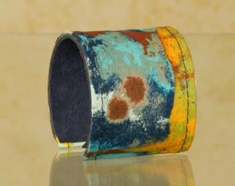 Cuff Bracelet - Fabric Wrapped Cuff Bracelet - Women's Cuff Bracelet - Gifts - Gifts Under 25 - Colorful Bracelet - Unique Jewelry