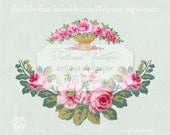 PNG Garland of Roses Pink Roses URN Instant Download Antique Wallpaper Elements