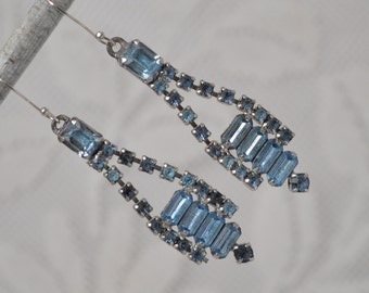 2 Vintage Pendants Drops Charms Briolettes Mid-Century Blue Rhinestones for Assemblage Jewelry