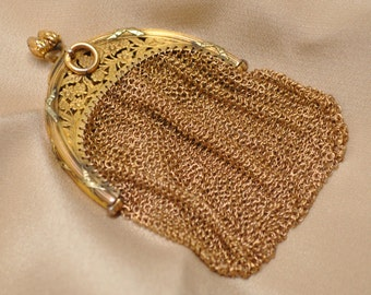 Antique 18kt Gold Plated Brass Filigree Chain Mail Purse 19th Century Made in France Exquisite