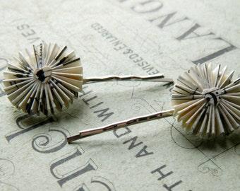 Vintage Music hair pins, handmade Bobby Pins, Set of Two Bobby Pins, Music Hair Pins, Music Gift, Sheet Music Hair Accessories, Wedding Hair