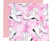 Kids Cloth Napkin, Fabric Lunch Box Napkin, Pink Girl Ice Skates, Christmas Napkin, 1 double sided napkin