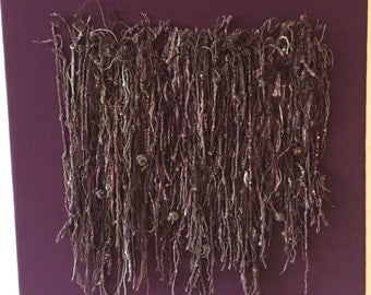 Fiber Art Wall Hanging, Knotted Yarn String Wall Hanging, Textile Wall Hanging, Plum White Soft Sculpture, Handspun Yarn Art - Plum Tendrils