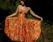 1950s Julie Miller Taffeta Party Dress... Parachute Shirt... INCANDESCENT AUTUMN