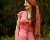 Vintage 1970s Maxi Dress... Boho Maxidress... Slinky Satin Gypsy Chic