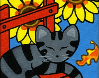 Grey Tabby CAT and Fall SUNFLOWERS Original AUTUMN Folk Art Painting by Jill