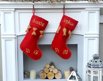 Cat Dog Christmas Stockings Primitive Christmas Decor Embroidered Personalized Holiday Pet with Bone or Fish Customized with Pets Name