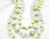 Chunky Statement Necklace [Chunky Green Multi Strand Statement Collar Necklace] RETRO GRADE