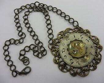 Steampunk Necklace Vintage Watch Parts Brass Filigree Swarovski Crystals Free Shipping