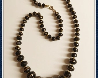 Vintage Black Beaded Necklace, Drizzled Gold, Graduated Beads, Single Strand, 1970's