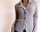 Women's Hand knit Jacket Alpaca Wool sweater Hand Knit Cardigan, Many colors available