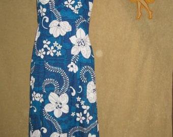 Barkcloth Dress Royal Hawaiian M Vintage