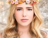 autumn wedding crown, woodland wedding, fall flower wreath