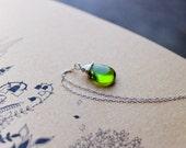 Czech glass sterling silver Necklace peridot green woodland garden wedding necklace