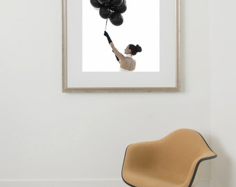 Black and White Fashion Photography Mod Girl with Black Balloons