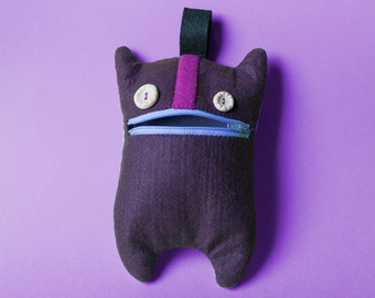 MonsterCase // Felt pencil case // deep purple & lilac - gift ideas, back to school, felt monster, christmas gifts