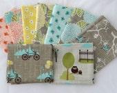 BLUEBIRD PARK 9 fqs modern quilt fabric Kate & Birdie Paper Co. aqua taupe bicycle hedgehog owl yellow Moda fat quarters