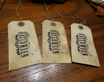 SET of 3 Large Primitive Happy Halloween Hang Tags