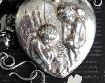 CHERUBS Repousse Heart Perfume Bottle Necklace. Vintage Art Nouveau. Sterling Silver. Genuine Hematite Rosary Chain. Limited Series No.35