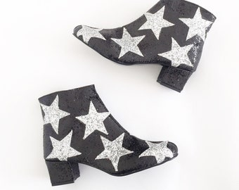 Stars Faux Leather Heeled Ankle Boots (Handmade to Order)