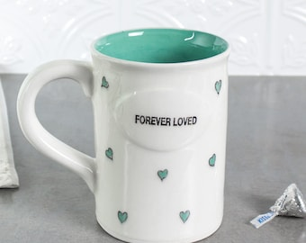 Forever Loved - Ceramic Heart Coffee Mug Modern Minimal White with Aqua mint green hearts Valentine's gift love Home Decor Tea Cup Serving