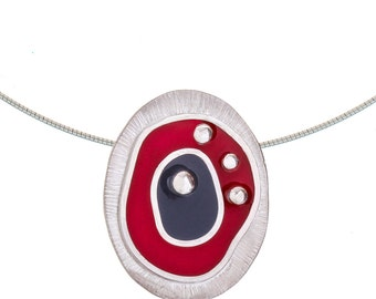 Resin Enamel and Silver Pendant, Oval Pendant, Red and Grey Pendant, Silver Contemporary Pendant, Statement Necklace