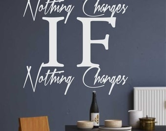 Nothing Changes Motivational Quote, Vinyl Wall Lettering, Vinyl Wall Decals, Vinyl Letters, Vinyl Lettering, Wall Quotes, Office Decal