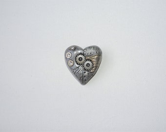 CLEARANCE additional half off. industrial steampunk heart brooch valentines day gift