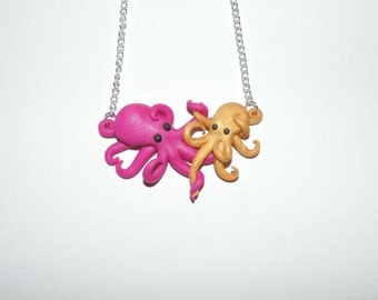 Mother and Child octopus in loving embrace, necklace. Pink and Yellow pearl