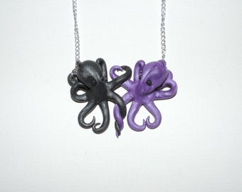 Intertwined Octopi in love Necklace,  gunmetal and purple valentines day gift
