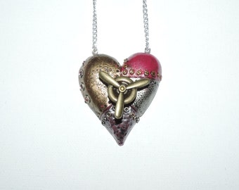 Steampunk Heart Necklace with spinning action, pink and metal valentines day gift