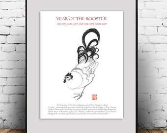 Rooster, Year of the Rooster New Years art print of original art Sumi ink painting, Chinese New Year, Losar, zen decor, childs room nursery
