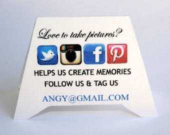 12 Personalized Social Media Tent Place/Escort - Hashtag Cards (#tag)