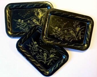Small Asian Metal Trays, Three Black Metal Trays, Vintage Metal Bird Trays, 3 Small Vintage Coaster Trays, Vintage Tip Tray Set, Black Trays