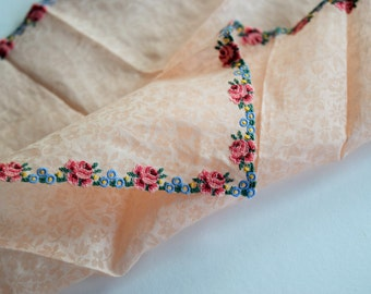 Vintage PETIT POINT HANDKERCHIEF Peach Hankie Embroidered Pink Rose Ladies Hanky Floral Blue Embroidery Border Flowers Lady Unused Tag Nos