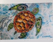 "Tropical Sea Turtle ""Honu Island Waters"" Kauai Hawaii - An Embossed Art Print Greeting Card / Note Cards with Envelope  Christie Marie Art"