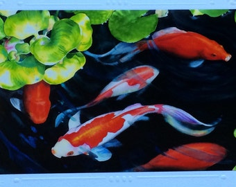 5 CARD SET blank Art Greeting Cards, Note Card, Christie Marie, lucky Japanese Koi Fish, fish pond, watercolor print art card, with envelope