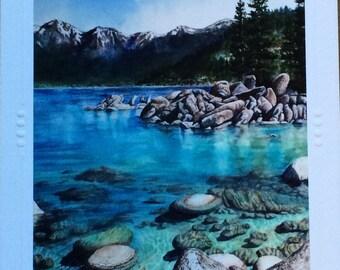 SET OF 5 Art Greeting Cards, Note Card Christie Marie , Lake Tahoe, Sand Harbor art card, mountain lake, blank , envelope Framable art card