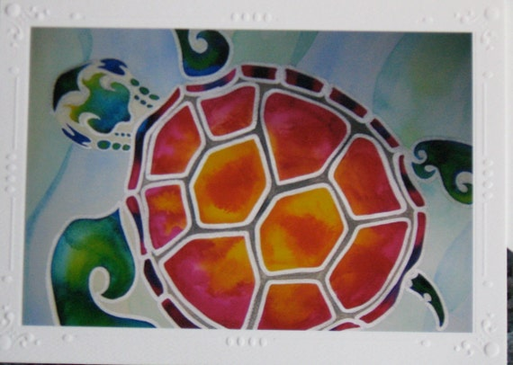 """Sea Turtle Art Print Cards SET OF 5 Beautifully Embossed Greeting Card / Note Card """"Tropical Escape"""" / envelopes Tropical Honu Turtle"""