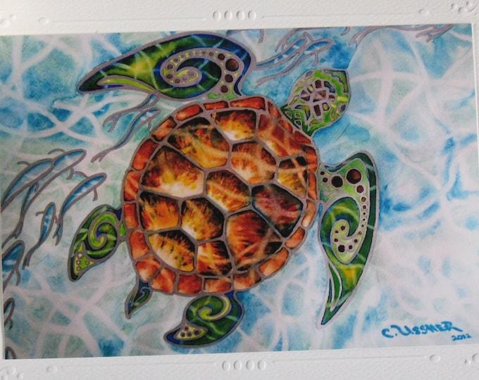 """Tropical Sea Turtle """"Honu Island Waters"""" Kauai Hawaii SET OF 5 Embossed Art Print Greeting Cards, Note Cards n Envelope  Christie Marie Art"""