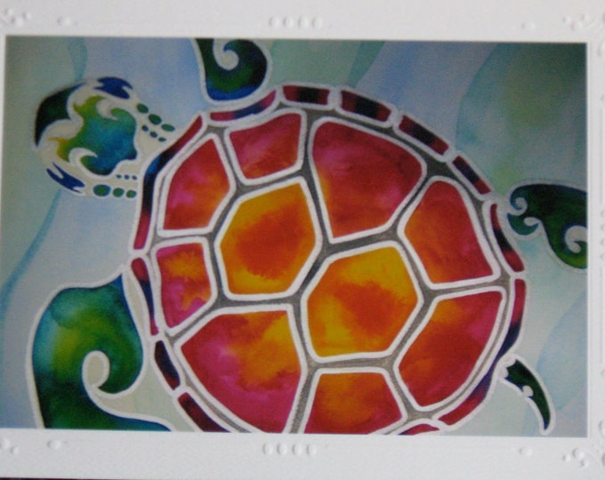 "Sea Turtle Art Print Cards SET OF 5 Beautifully Embossed Greeting Card / Note Card ""Tropical Escape"" / envelopes Tropical Honu Turtle"