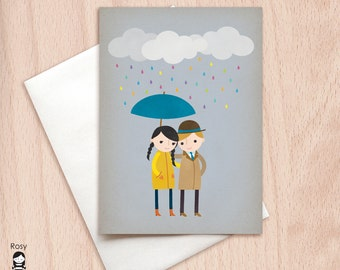 Rainy Day Love 2 - Greeting Card