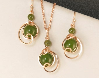 Green Nephrite Jade Rose Gold Wire Gift Set For Her, Unique Jade Jewelry Drop Pendant Chain Necklace Set