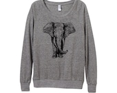 New! Elephant Sweater  - Womens Elephant Sweatshirt   - Small, Medium, Large, Extra Large (3 Color Options)