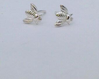 Bumblebee Earrings, Sterling Silver Bee Studs, Little Girls Jewellery, Bee Lovers Gift, Cute Earrings, School Friends Party Gift, UK Made