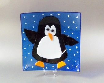 Penguin // Fused Glass Plate with Bright Blue Background // Candy // Trinket // Cookies // Winter // Fun // Whimsical // Cute // Christmas