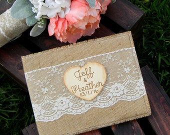 Burlap Guest Book Ivory Lace Guestbook Rustic Guest Book Burlap & Lace Guest Book Personalized Guest Book Woodland Shabby Chic