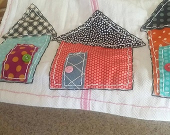 Dish Towel with tiny houses | Tea Towels | Kitchen Towels | Kitchen Decor
