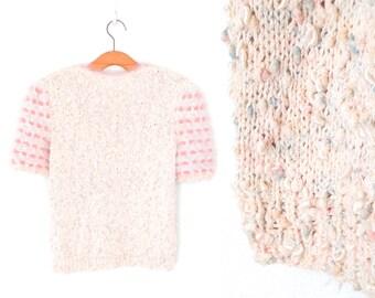 Fiber Art Sweater * Vintage Hand Knit Top * Angora Puffed Sleeve Jumper * Medium - Large